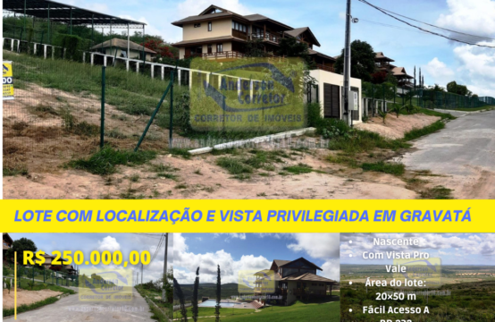 Lote Com Localização E Vista Privilegiada No Condomínio Vista Da Serra